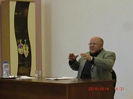 Prof. Anashkin explains about his research at the meeting in St. Innocent of Moscow parish in Moscow, Russia. June 22, 2014